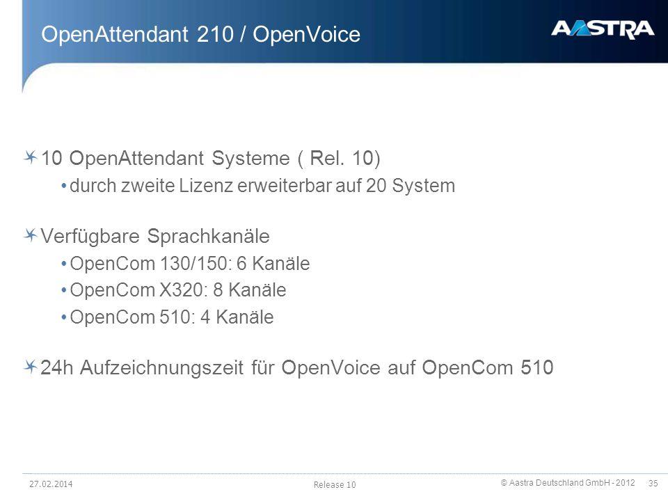 © Aastra Deutschland GmbH - 2012 35 OpenAttendant 210 / OpenVoice 10 OpenAttendant Systeme ( Rel. 10) durch zweite Lizenz erweiterbar auf 20 System Ve