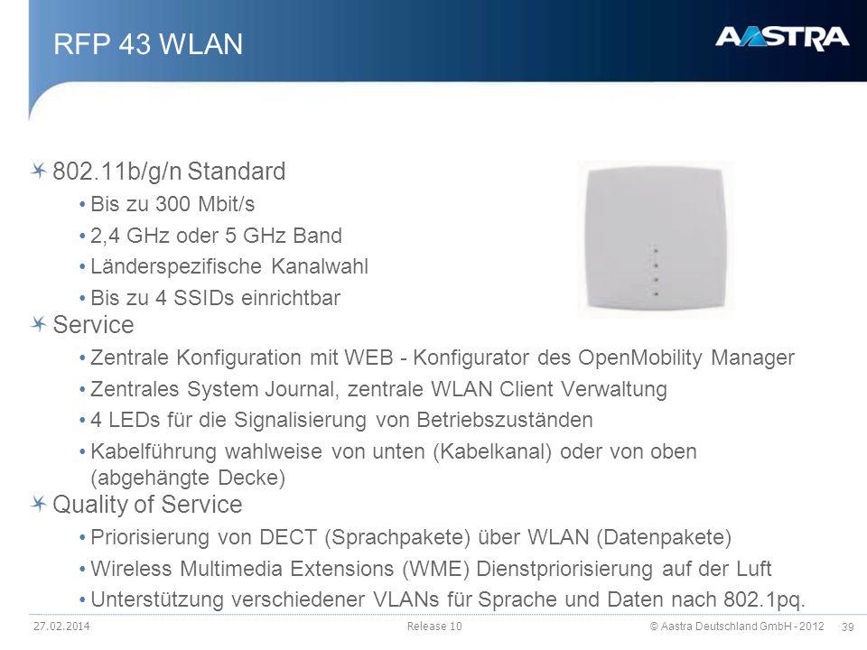 © Aastra Deutschland GmbH - 2012 39 RFP 43 WLAN 802.11b/g/n Standard Bis zu 300 Mbit/s 2,4 GHz oder 5 GHz Band Länderspezifische Kanalwahl Bis zu 4 SS