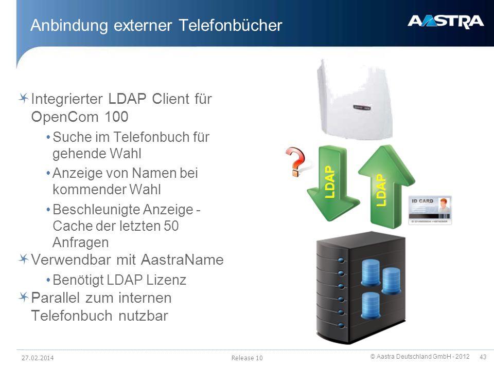 © Aastra Deutschland GmbH - 2012 43 Anbindung externer Telefonbücher Integrierter LDAP Client für OpenCom 100 Suche im Telefonbuch für gehende Wahl An