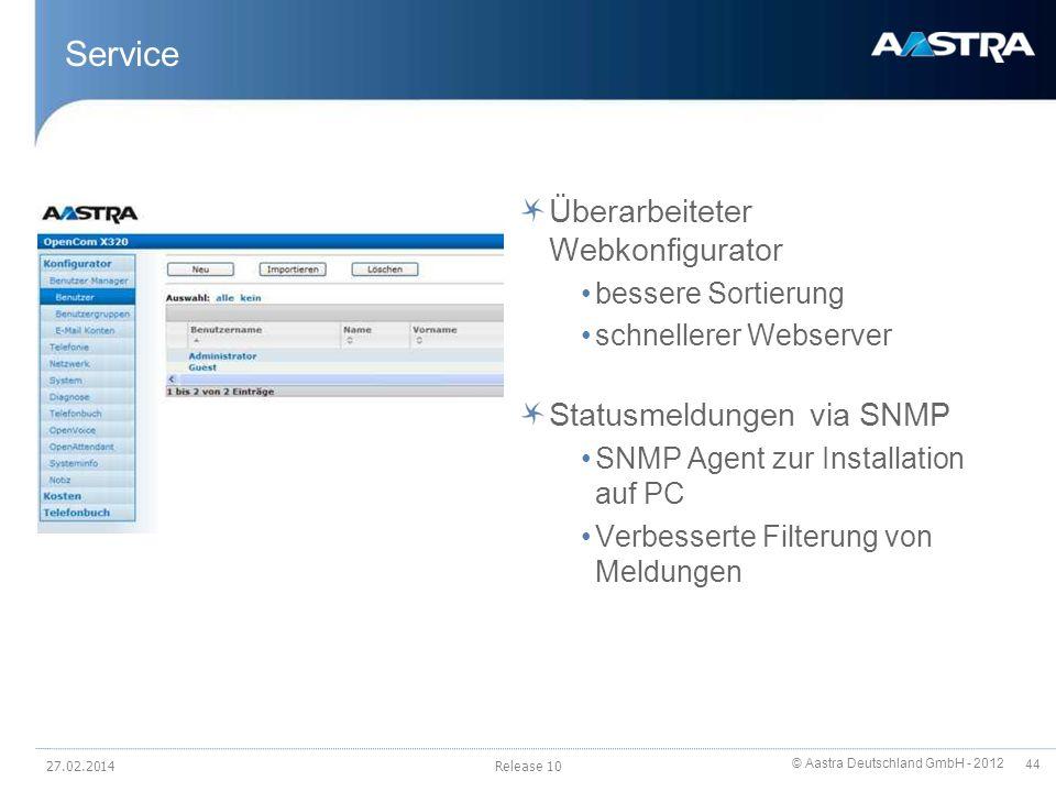 © Aastra Deutschland GmbH - 2012 44 Service Überarbeiteter Webkonfigurator bessere Sortierung schnellerer Webserver Statusmeldungen via SNMP SNMP Agen