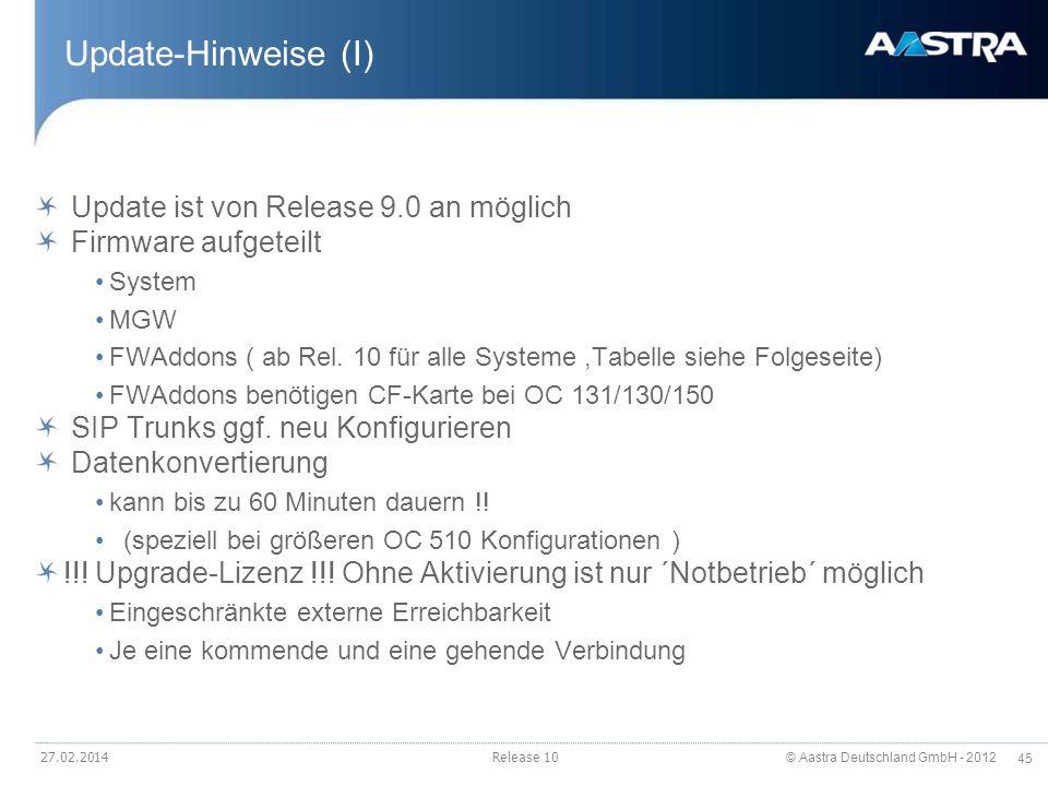 © Aastra Deutschland GmbH - 2012 45 Update-Hinweise (I) Update ist von Release 9.0 an möglich Firmware aufgeteilt System MGW FWAddons ( ab Rel. 10 für
