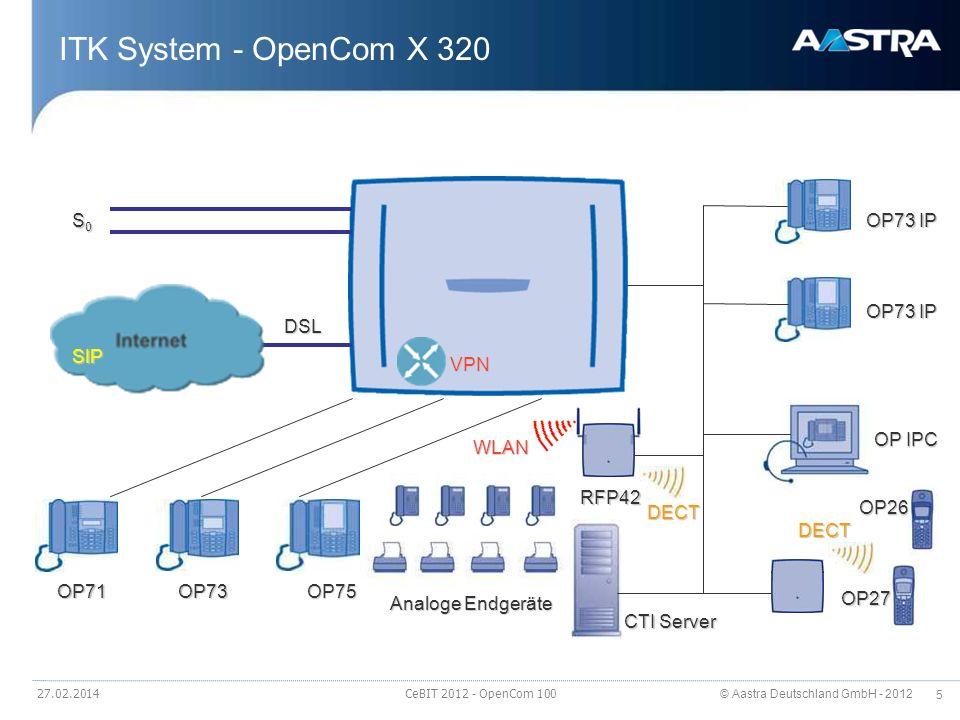 © Aastra Deutschland GmbH - 2012 5 27.02.2014 CeBIT 2012 - OpenCom 100 ITK System - OpenCom X 320 DSL VPN S0S0S0S0 OP71OP73OP75 OP73 IP OP IPC OP26 OP