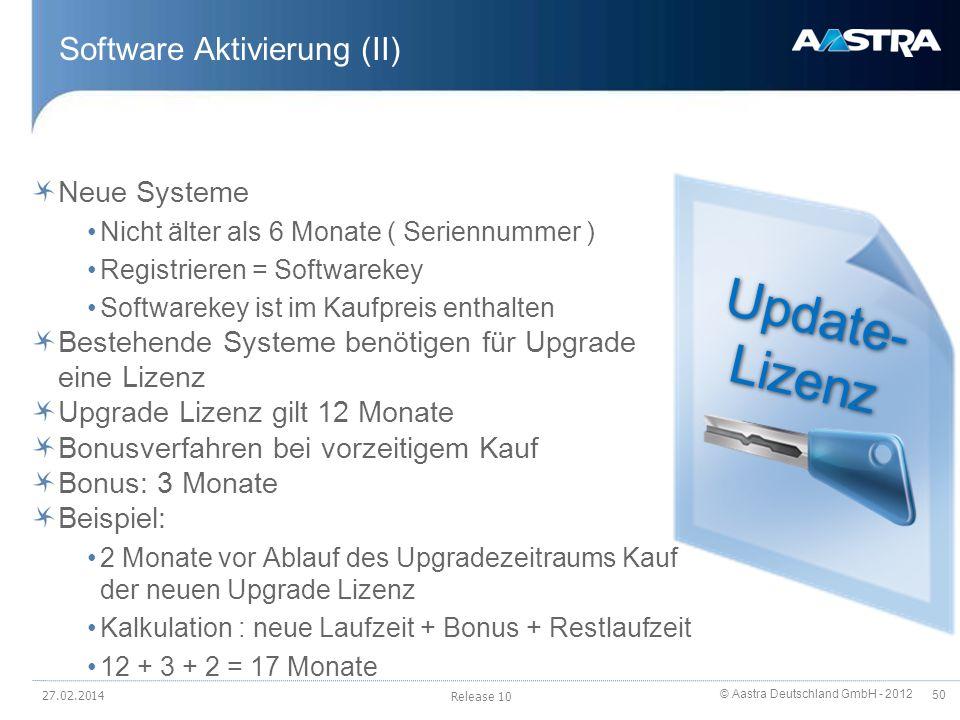© Aastra Deutschland GmbH - 2012 50 Software Aktivierung (II) Neue Systeme Nicht älter als 6 Monate ( Seriennummer ) Registrieren = Softwarekey Softwa
