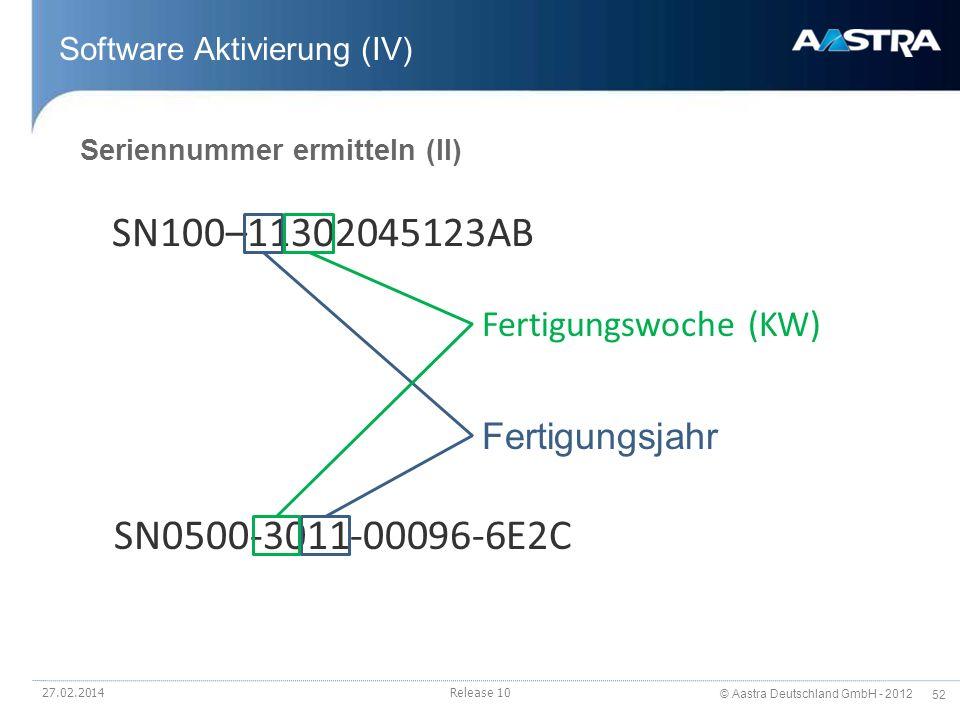 © Aastra Deutschland GmbH - 2012 52 Software Aktivierung (IV) SN100–11302045123AB SN0500-3011-00096-6E2C Fertigungsjahr Fertigungswoche (KW) Seriennum