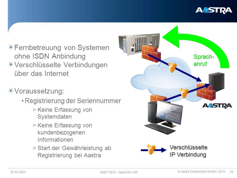 © Aastra Deutschland GmbH - 2012 53 Secure Internet Remote Service Fernbetreuung von Systemen ohne ISDN Anbindung Verschlüsselte Verbindungen über das