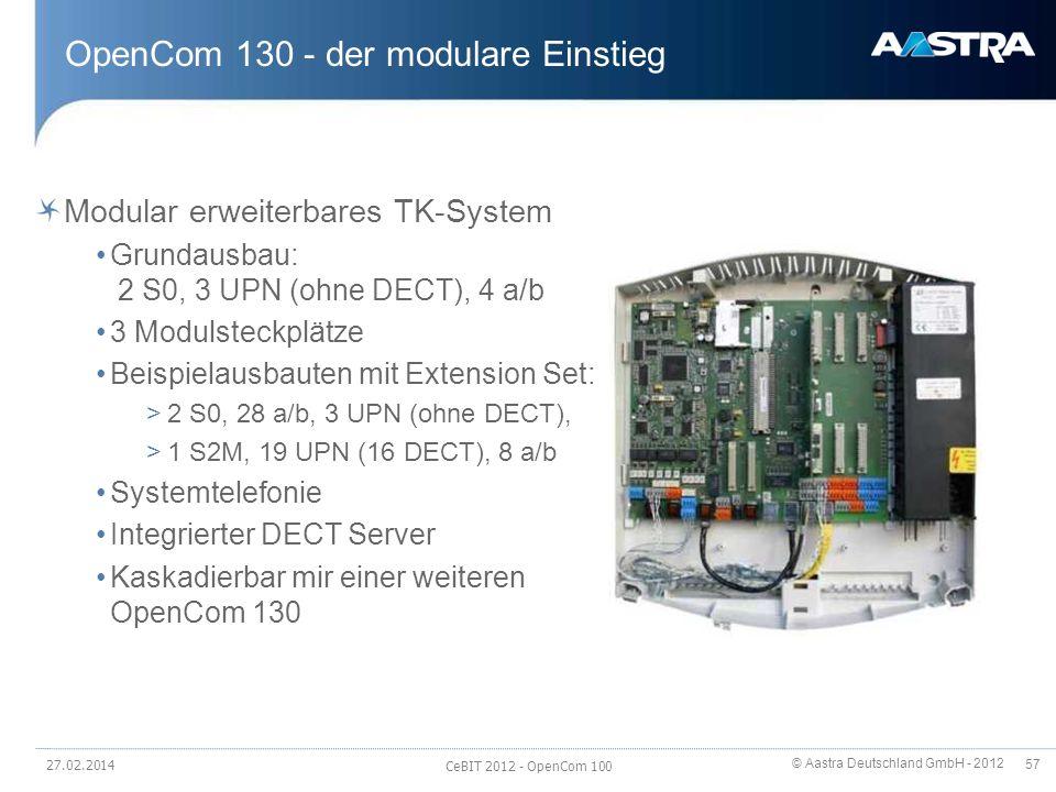 © Aastra Deutschland GmbH - 2012 57 OpenCom 130 - der modulare Einstieg Modular erweiterbares TK-System Grundausbau: 2 S0, 3 UPN (ohne DECT), 4 a/b 3