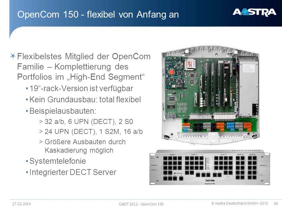 © Aastra Deutschland GmbH - 2012 58 OpenCom 150 - flexibel von Anfang an Flexibelstes Mitglied der OpenCom Familie – Komplettierung des Portfolios im