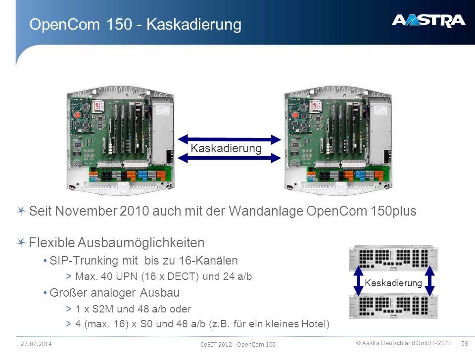 © Aastra Deutschland GmbH - 2012 59 OpenCom 150 - Kaskadierung Seit November 2010 auch mit der Wandanlage OpenCom 150plus Flexible Ausbaumöglichkeiten