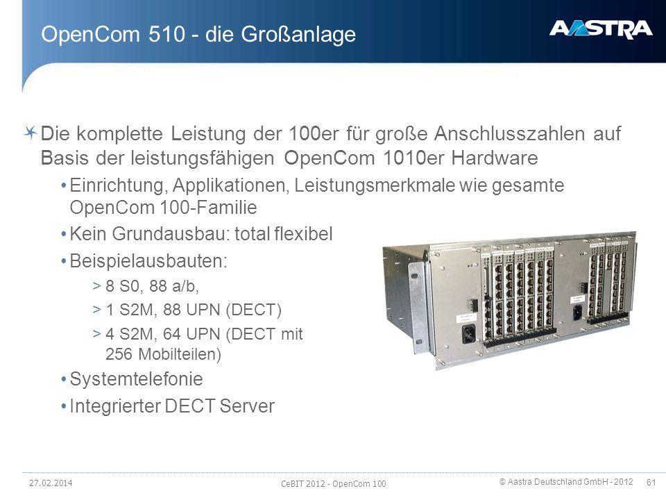 © Aastra Deutschland GmbH - 2012 61 OpenCom 510 - die Großanlage Die komplette Leistung der 100er für große Anschlusszahlen auf Basis der leistungsfäh