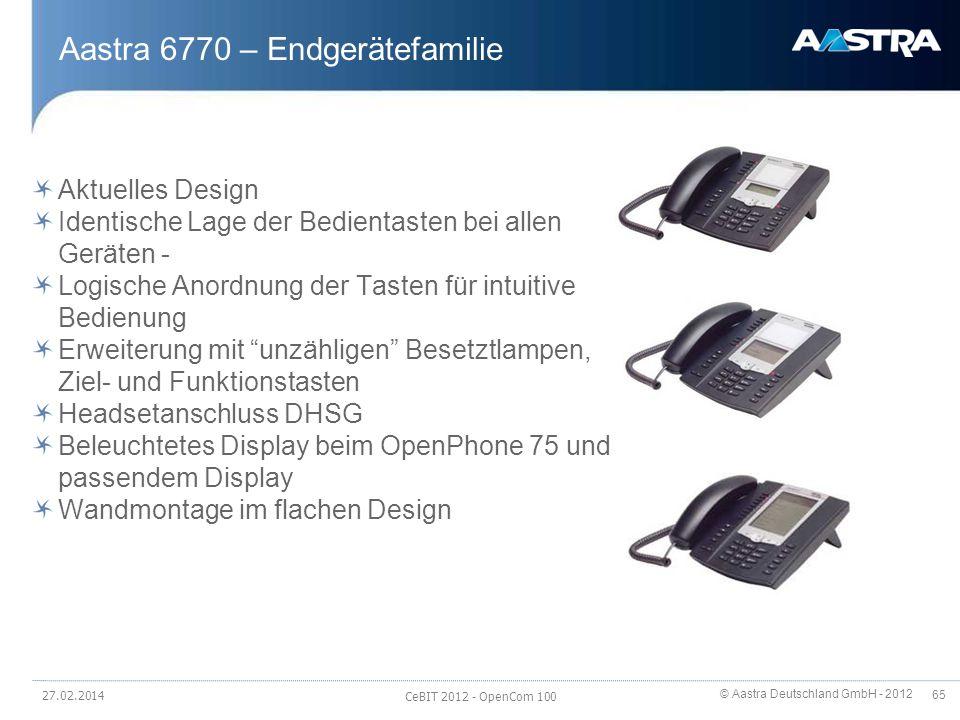 © Aastra Deutschland GmbH - 2012 65 Aastra 6770 – Endgerätefamilie Aktuelles Design Identische Lage der Bedientasten bei allen Geräten - Logische Anor