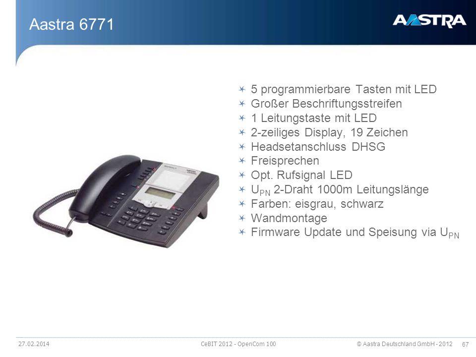 © Aastra Deutschland GmbH - 2012 67 27.02.2014 CeBIT 2012 - OpenCom 100 Aastra 6771 5 programmierbare Tasten mit LED Großer Beschriftungsstreifen 1 Le