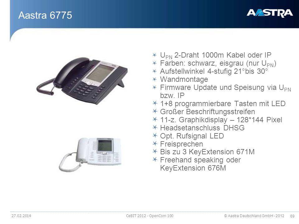 © Aastra Deutschland GmbH - 2012 69 27.02.2014 CeBIT 2012 - OpenCom 100 Aastra 6775 U PN 2-Draht 1000m Kabel oder IP Farben: schwarz, eisgrau (nur U P