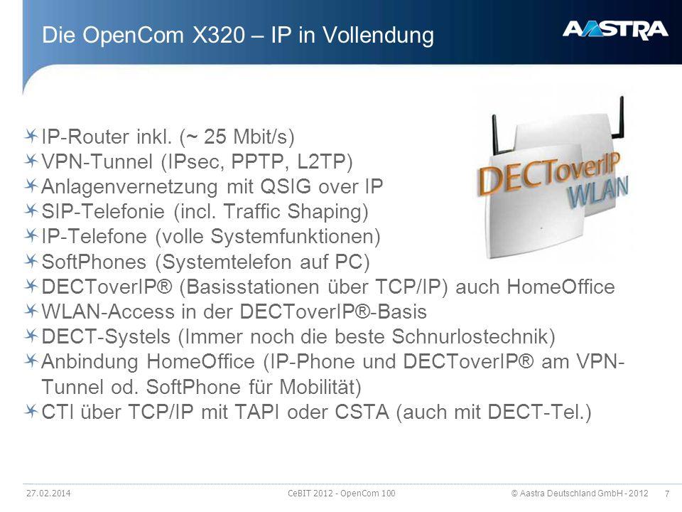 © Aastra Deutschland GmbH - 2012 7 Die OpenCom X320 – IP in Vollendung IP-Router inkl. (~ 25 Mbit/s) VPN-Tunnel (IPsec, PPTP, L2TP) Anlagenvernetzung