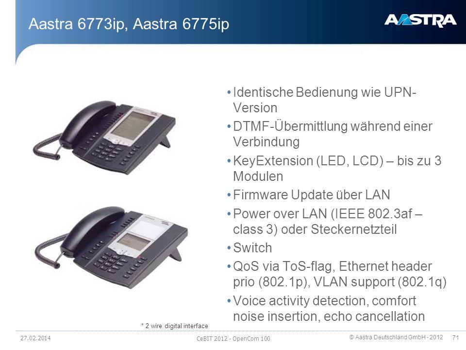 © Aastra Deutschland GmbH - 2012 71 Aastra 6773ip, Aastra 6775ip Identische Bedienung wie UPN- Version DTMF-Übermittlung während einer Verbindung KeyE