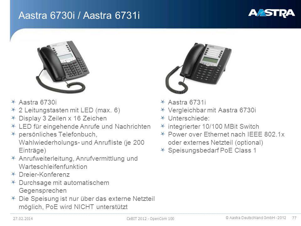 © Aastra Deutschland GmbH - 2012 77 Aastra 6730i / Aastra 6731i Aastra 6730i 2 Leitungstasten mit LED (max. 6) Display 3 Zeilen x 16 Zeichen LED für e