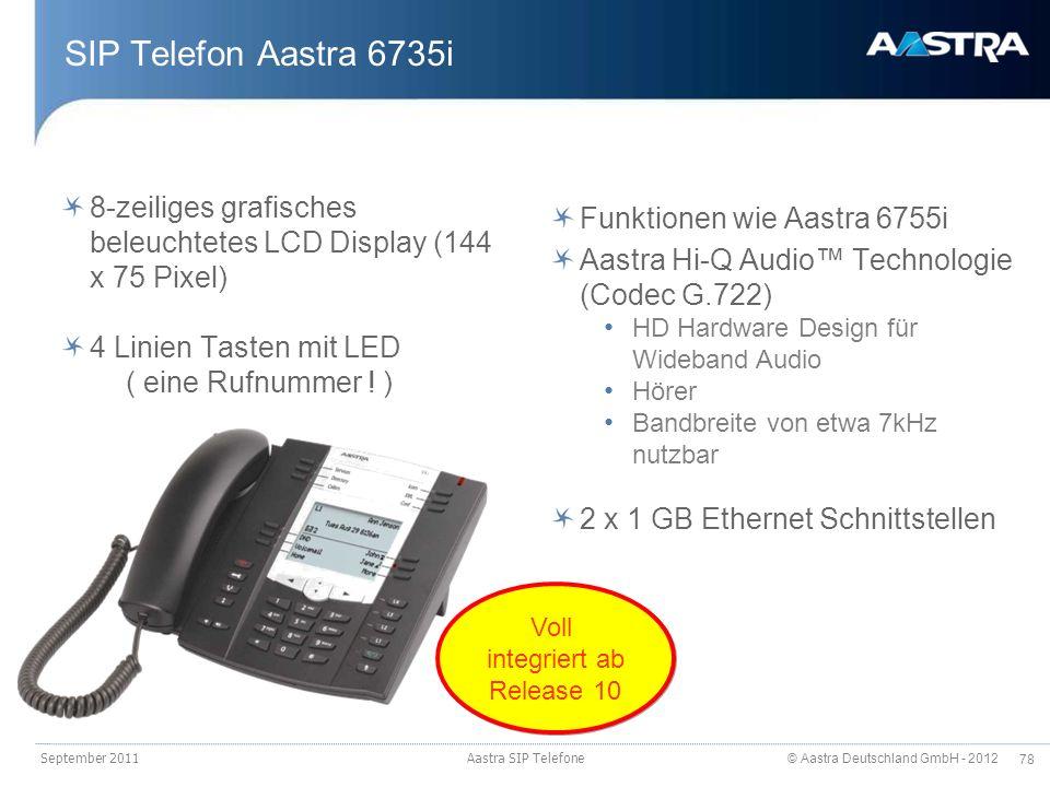 © Aastra Deutschland GmbH - 2012 78 SIP Telefon Aastra 6735i September 2011 Aastra SIP Telefone 8-zeiliges grafisches beleuchtetes LCD Display (144 x