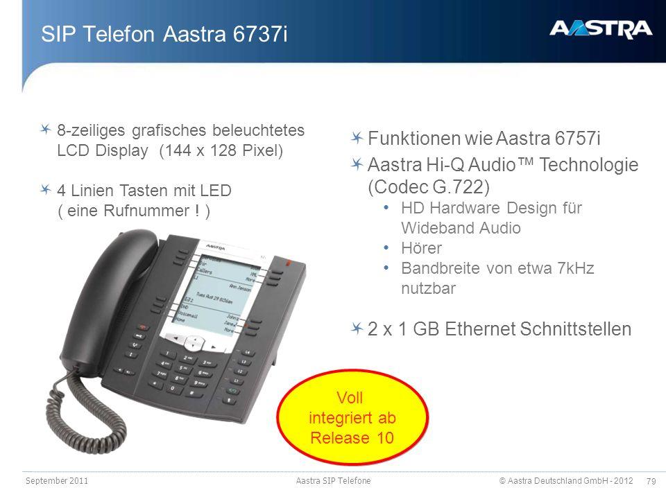 © Aastra Deutschland GmbH - 2012 79 SIP Telefon Aastra 6737i September 2011 Aastra SIP Telefone 8-zeiliges grafisches beleuchtetes LCD Display (144 x