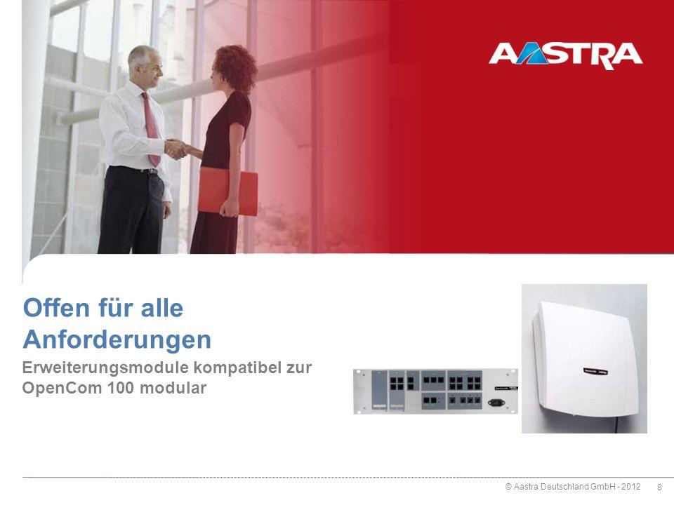 © Aastra Deutschland GmbH - 2012 9 Module für OpenCom 100 und X320 M100-A4 / M100-A8 4 / 8 CLIP-fähige a/b-Anschlüsse M100-U4d / M100-U8d 4 / 8 UPN-Systemschnittstellen für Systemtelefone und U PN -DECT Basisstationen M100-S2U6d Kombimodul mit 2 S 0 -Anschlüssen und 6 U PN -Systemschnittstellen für Systemtelefone und DECT-Basisstationen RFP 2x M100-S2A6 Kombimodul mit 2 schaltbaren S 0 - und 6 CLIP-fähigen a/b- Anschlüssen M100-S4 4 schaltbare S 0 -Anschlüsse 27.02.2014 CeBIT 2012 - OpenCom 100