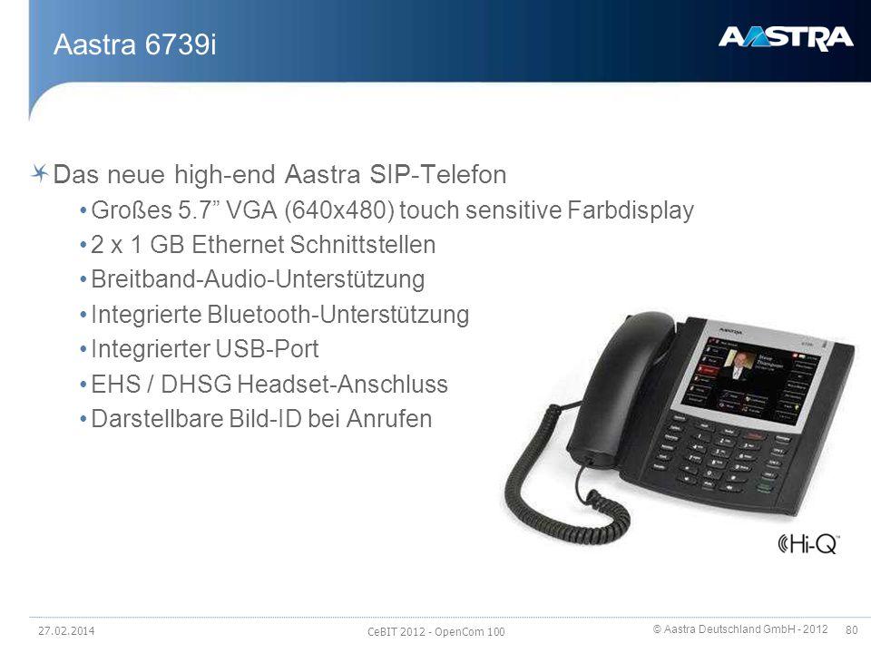© Aastra Deutschland GmbH - 2012 80 Aastra 6739i Das neue high-end Aastra SIP-Telefon Großes 5.7 VGA (640x480) touch sensitive Farbdisplay 2 x 1 GB Et