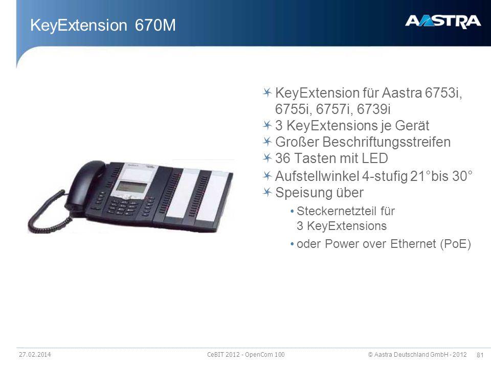© Aastra Deutschland GmbH - 2012 81 27.02.2014 CeBIT 2012 - OpenCom 100 KeyExtension 670M KeyExtension für Aastra 6753i, 6755i, 6757i, 6739i 3 KeyExte