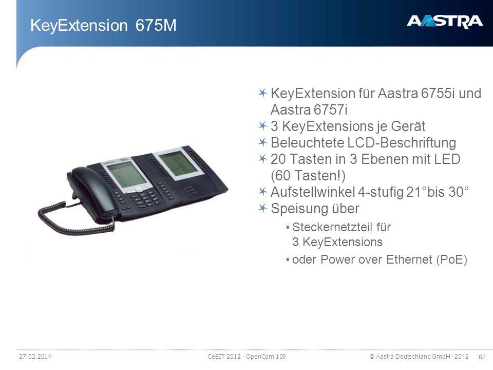 © Aastra Deutschland GmbH - 2012 82 27.02.2014 CeBIT 2012 - OpenCom 100 KeyExtension 675M KeyExtension für Aastra 6755i und Aastra 6757i 3 KeyExtensio