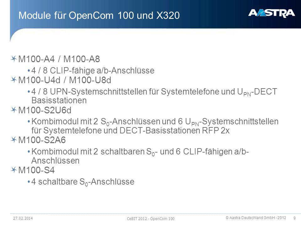 © Aastra Deutschland GmbH - 2012 10 Module für OpenCom 100 M100-AT4 4 analoge Amtsköpfe (HKZ); MFV-Wahlverfahren M100-IP 8 Gateway-Kanäle zwischen IP- und non-IP Incl.
