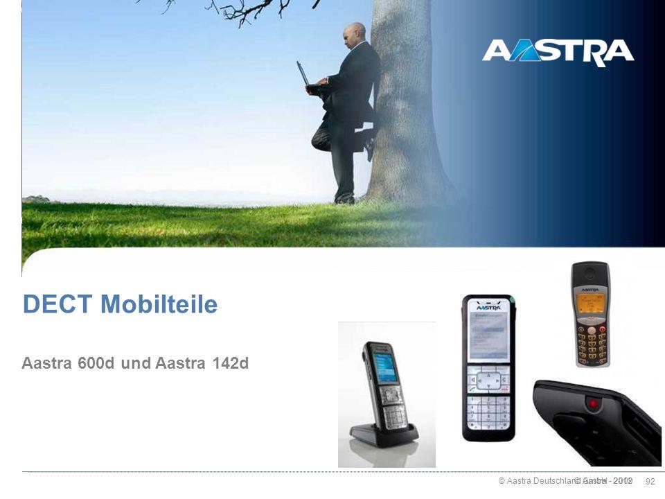 © Aastra Deutschland GmbH - 2012 92 © Aastra - 2009 Aastra 600d und Aastra 142d DECT Mobilteile