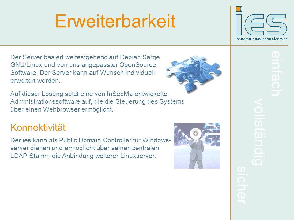 einfach vollständig sicher Erweiterbarkeit Der Server basiert weitestgehend auf Debian Sarge GNU/Linux und von uns angepasster OpenSource Software. De