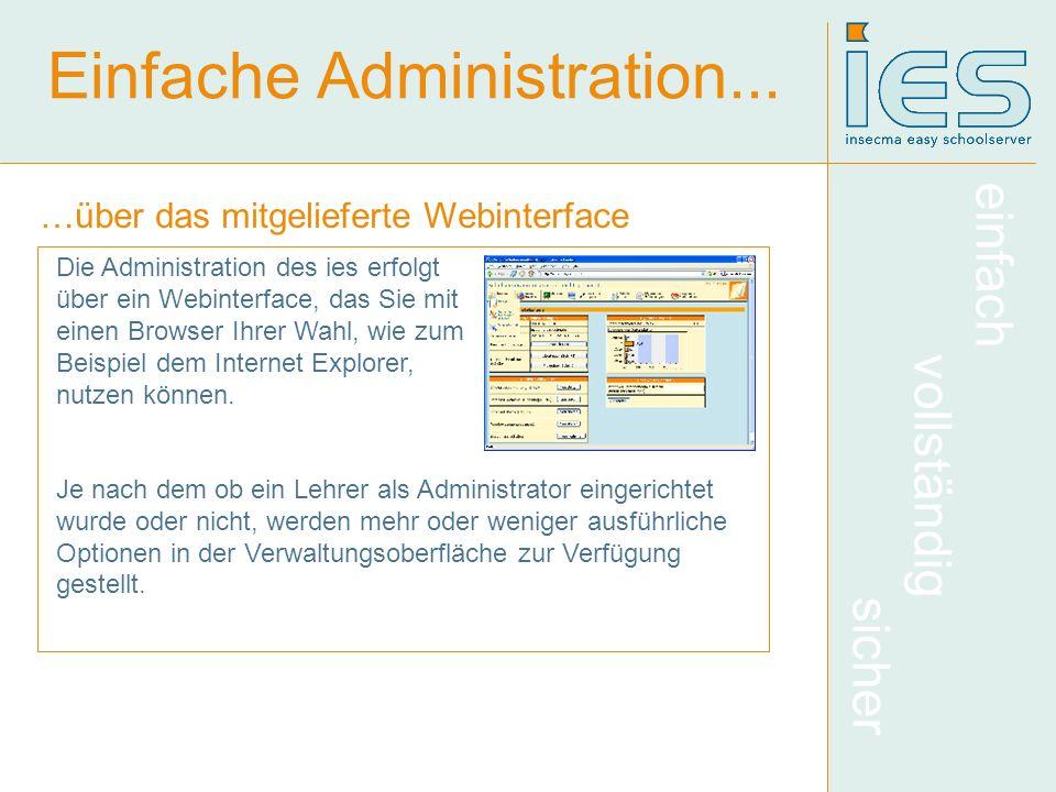 einfach vollständig sicher Einfache Administration... …über das mitgelieferte Webinterface Die Administration des ies erfolgt über ein Webinterface, d