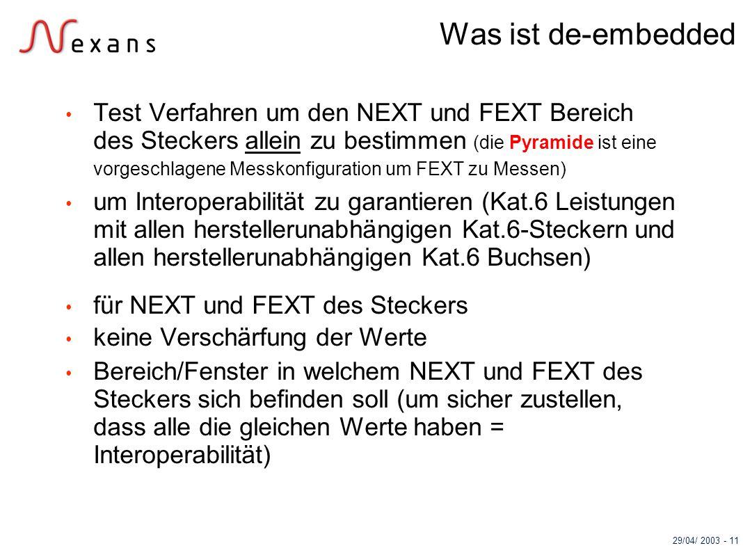 29/04/ 2003 - 11 Was ist de-embedded Test Verfahren um den NEXT und FEXT Bereich des Steckers allein zu bestimmen (die Pyramide ist eine vorgeschlagen