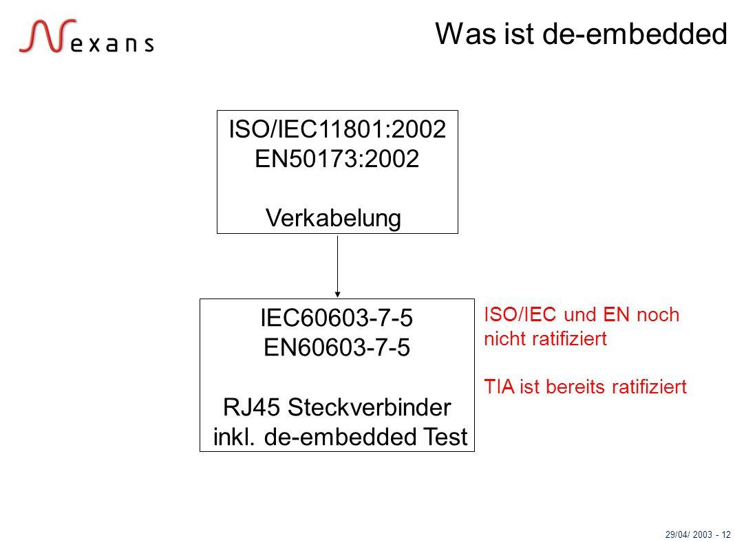 29/04/ 2003 - 12 ISO/IEC11801:2002 EN50173:2002 Verkabelung IEC60603-7-5 EN60603-7-5 RJ45 Steckverbinder inkl. de-embedded Test ISO/IEC und EN noch ni