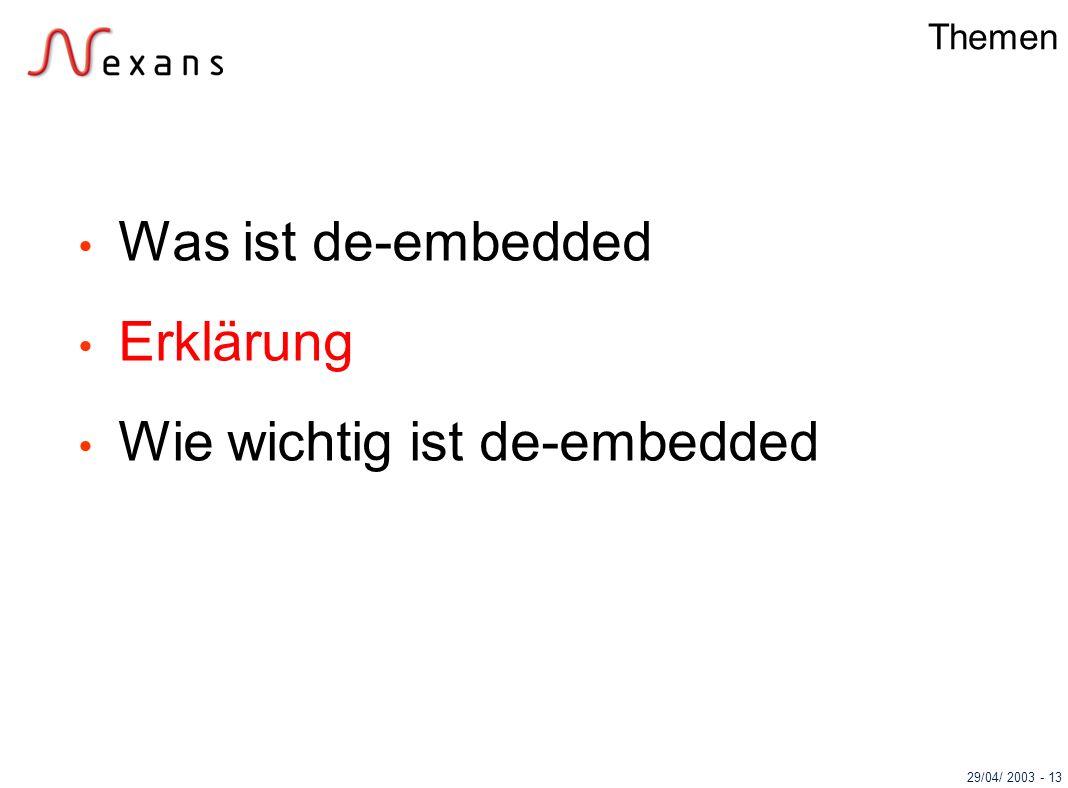 29/04/ 2003 - 13 Themen Was ist de-embedded Erklärung Wie wichtig ist de-embedded