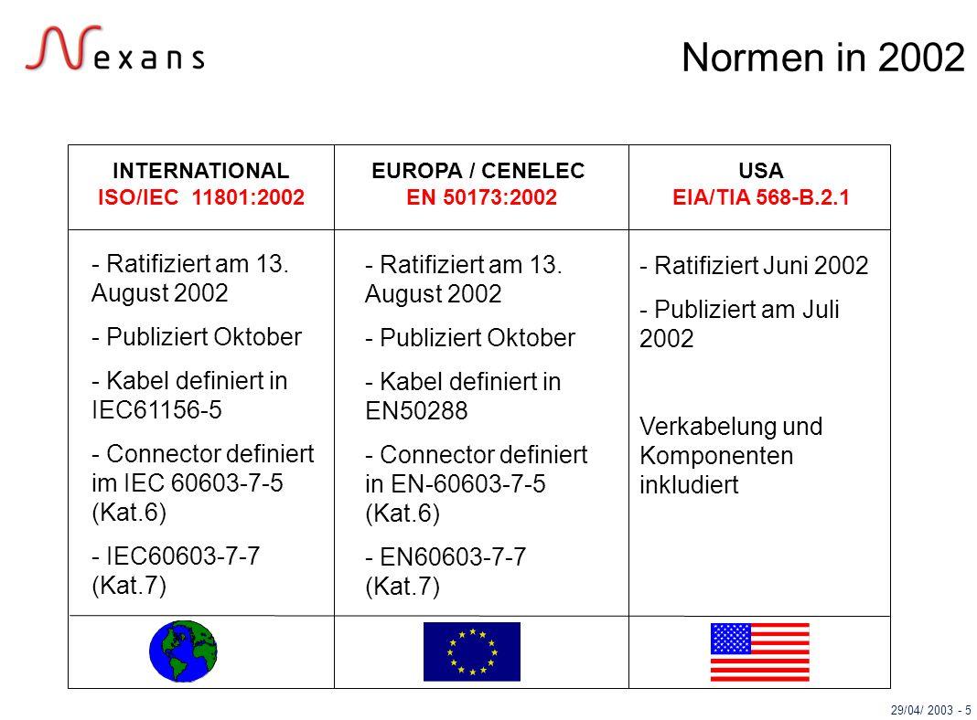 29/04/ 2003 - 5 USA EIA/TIA 568-B.2.1 EUROPA / CENELEC EN 50173:2002 INTERNATIONAL ISO/IEC 11801:2002 Normen in 2002 - Ratifiziert am 13. August 2002