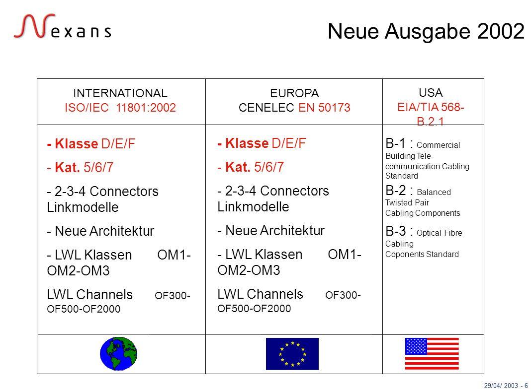 29/04/ 2003 - 6 USA EIA/TIA 568- B.2.1 EUROPA CENELEC EN 50173 INTERNATIONAL ISO/IEC 11801:2002 - Klasse D/E/F - Kat. 5/6/7 - 2-3-4 Connectors Linkmod