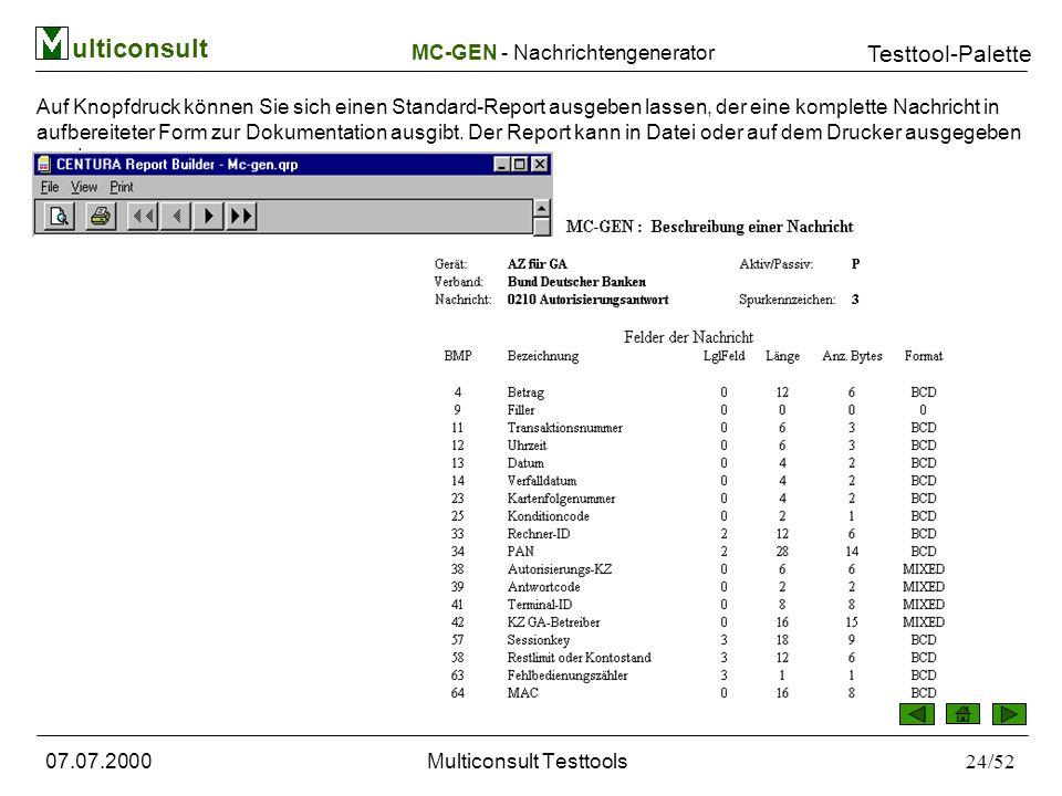 ulticonsult Testtool-Palette 07.07.2000Multiconsult Testtools24/52 Auf Knopfdruck können Sie sich einen Standard-Report ausgeben lassen, der eine komplette Nachricht in aufbereiteter Form zur Dokumentation ausgibt.