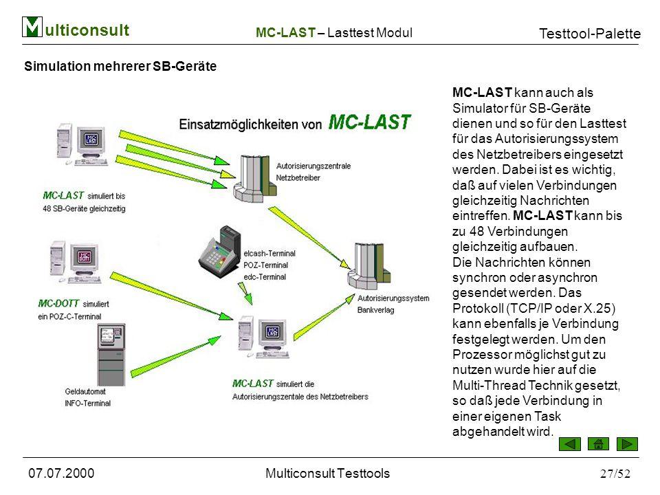 ulticonsult Testtool-Palette 07.07.2000Multiconsult Testtools27/52 Simulation mehrerer SB-Geräte MC-LAST kann auch als Simulator für SB-Geräte dienen und so für den Lasttest für das Autorisierungssystem des Netzbetreibers eingesetzt werden.