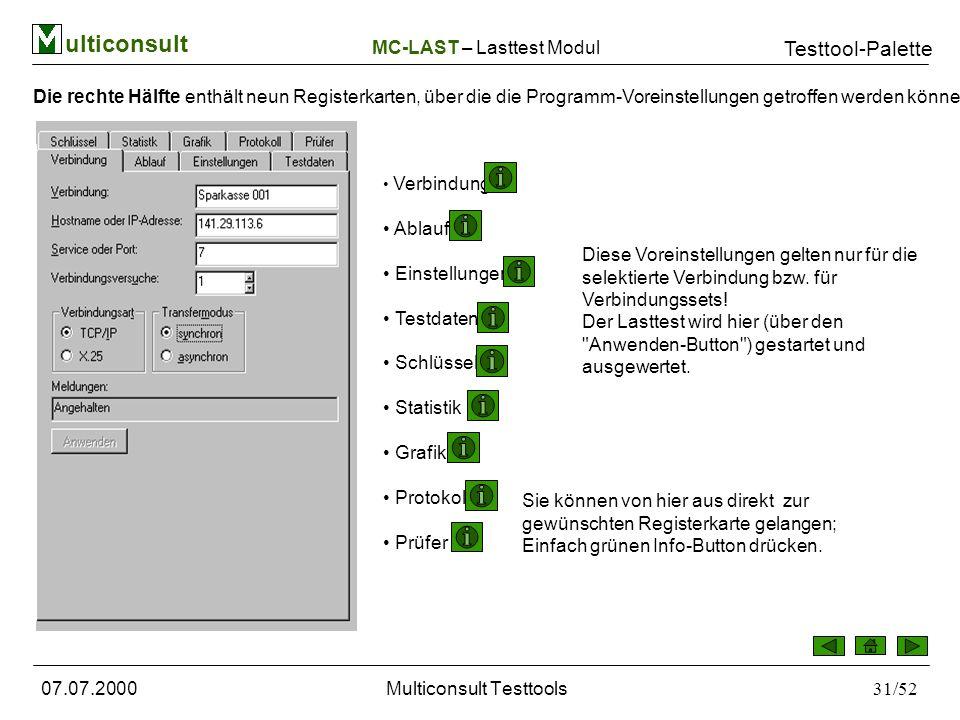 ulticonsult Testtool-Palette 07.07.2000Multiconsult Testtools31/52 Die rechte Hälfte enthält neun Registerkarten, über die die Programm-Voreinstellungen getroffen werden können: Verbindung Ablauf Einstellungen Testdaten Schlüssel Statistik Grafik Protokoll Prüfer Diese Voreinstellungen gelten nur für die selektierte Verbindung bzw.
