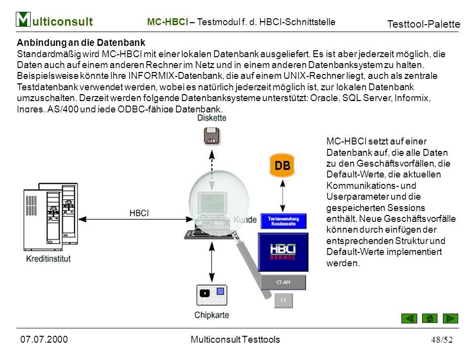 ulticonsult Testtool-Palette 07.07.2000Multiconsult Testtools48/52 MC-HBCI – Testmodul f.