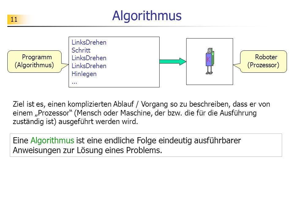 11 LinksDrehen Schritt LinksDrehen LinksDrehen Hinlegen... Programm (Algorithmus) Roboter (Prozessor) Algorithmus Eine Algorithmus ist eine endliche F