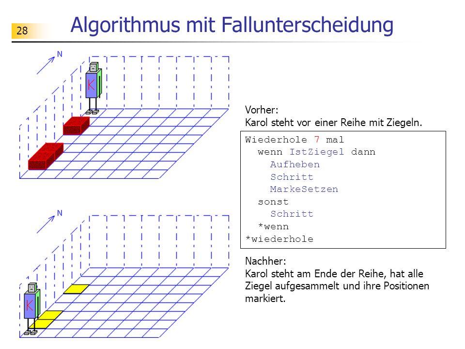 28 Algorithmus mit Fallunterscheidung Vorher: Karol steht vor einer Reihe mit Ziegeln. Nachher: Karol steht am Ende der Reihe, hat alle Ziegel aufgesa