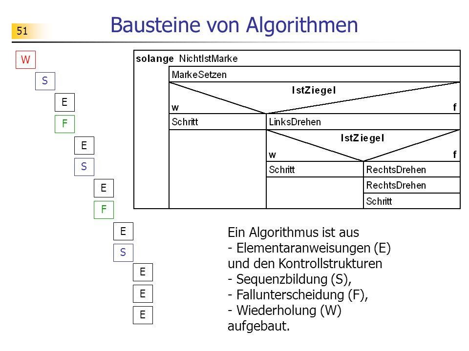 51 Bausteine von Algorithmen S F W E E S F E E S E E E Ein Algorithmus ist aus - Elementaranweisungen (E) und den Kontrollstrukturen - Sequenzbildung