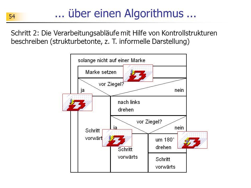 54... über einen Algorithmus... Schritt 2: Die Verarbeitungsabläufe mit Hilfe von Kontrollstrukturen beschreiben (strukturbetonte, z. T. informelle Da
