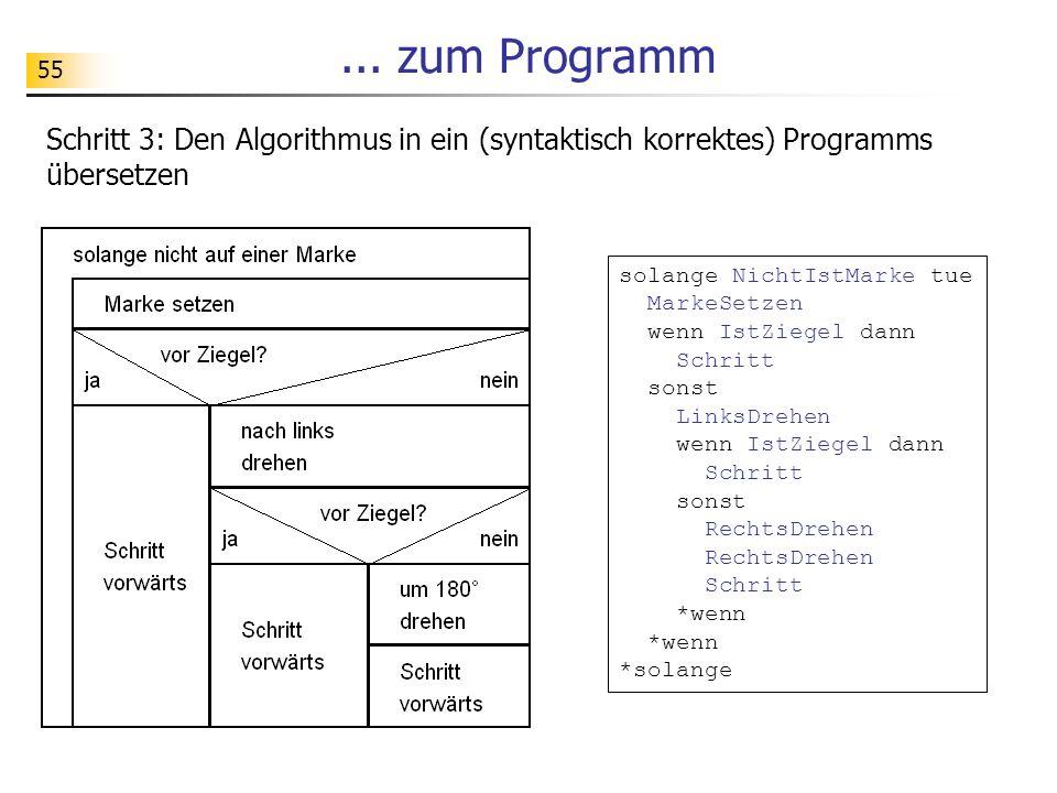55... zum Programm Schritt 3: Den Algorithmus in ein (syntaktisch korrektes) Programms übersetzen solange NichtIstMarke tue MarkeSetzen wenn IstZiegel