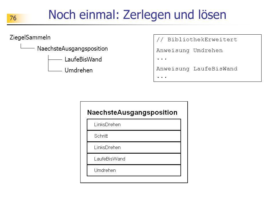 76 Noch einmal: Zerlegen und lösen ZiegelSammeln NaechsteAusgangsposition LaufeBisWand Umdrehen // BibliothekErweitert Anweisung Umdrehen... Anweisung