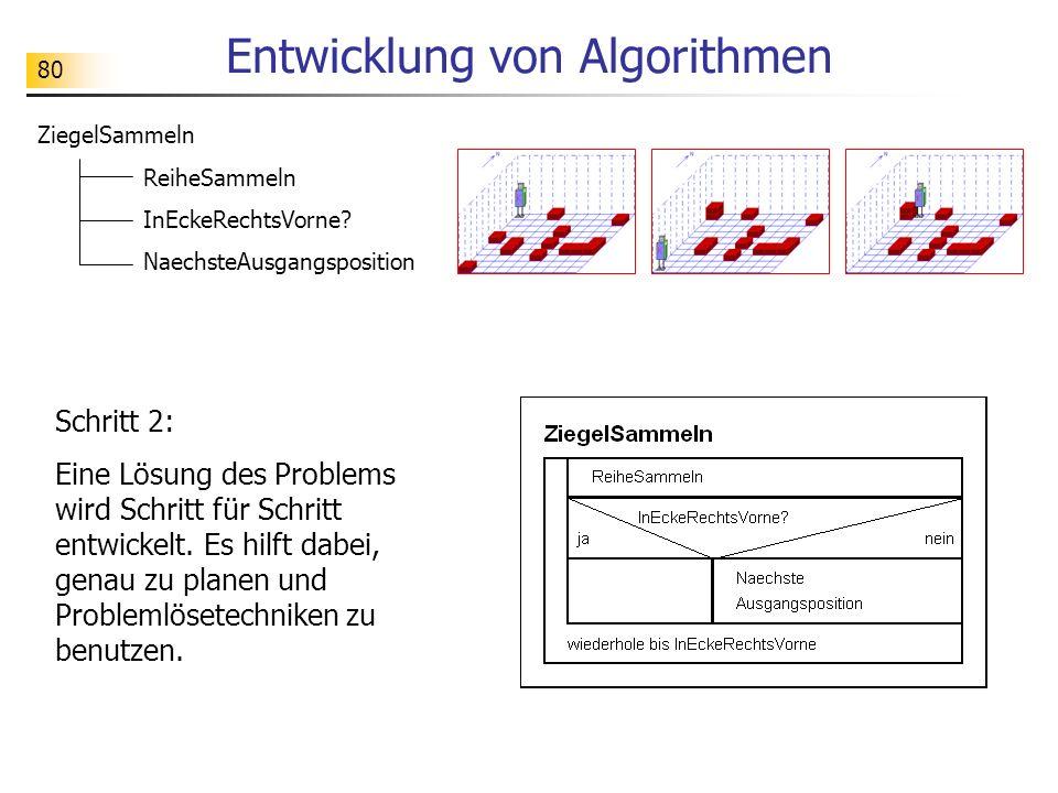80 Entwicklung von Algorithmen Schritt 2: Eine Lösung des Problems wird Schritt für Schritt entwickelt. Es hilft dabei, genau zu planen und Problemlös