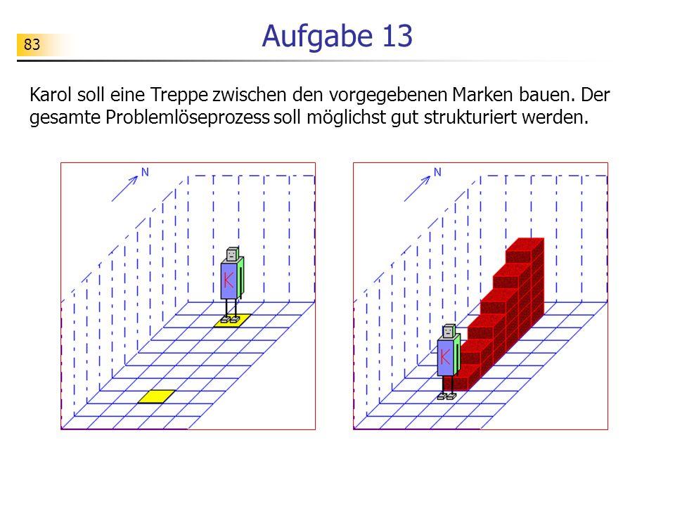 83 Aufgabe 13 Karol soll eine Treppe zwischen den vorgegebenen Marken bauen. Der gesamte Problemlöseprozess soll möglichst gut strukturiert werden.