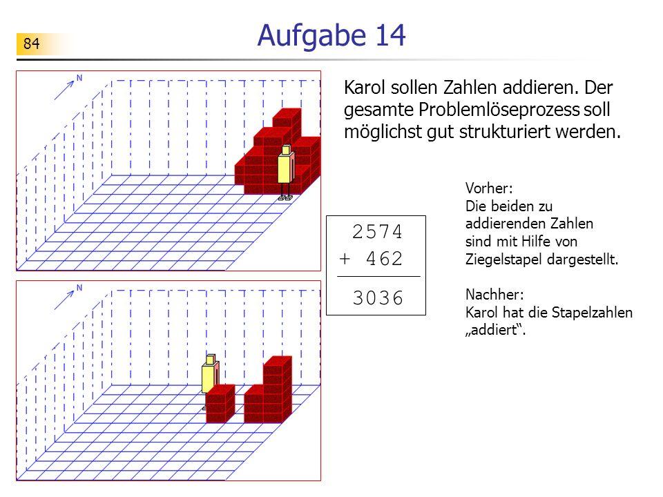 84 Aufgabe 14 Karol sollen Zahlen addieren. Der gesamte Problemlöseprozess soll möglichst gut strukturiert werden. Vorher: Die beiden zu addierenden Z