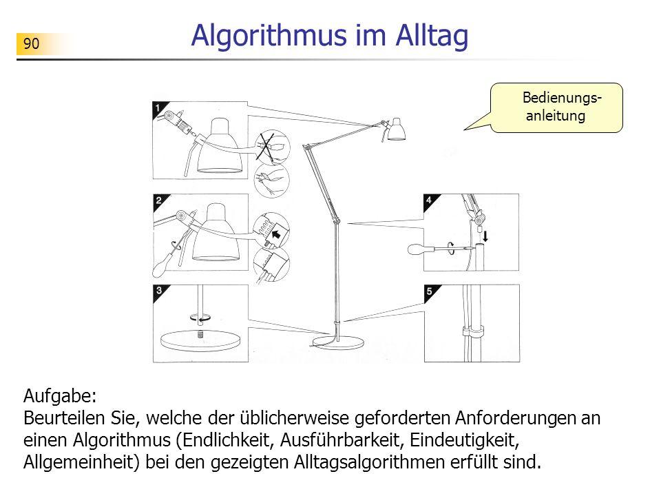 90 Algorithmus im Alltag Bedienungs- anleitung Aufgabe: Beurteilen Sie, welche der üblicherweise geforderten Anforderungen an einen Algorithmus (Endli