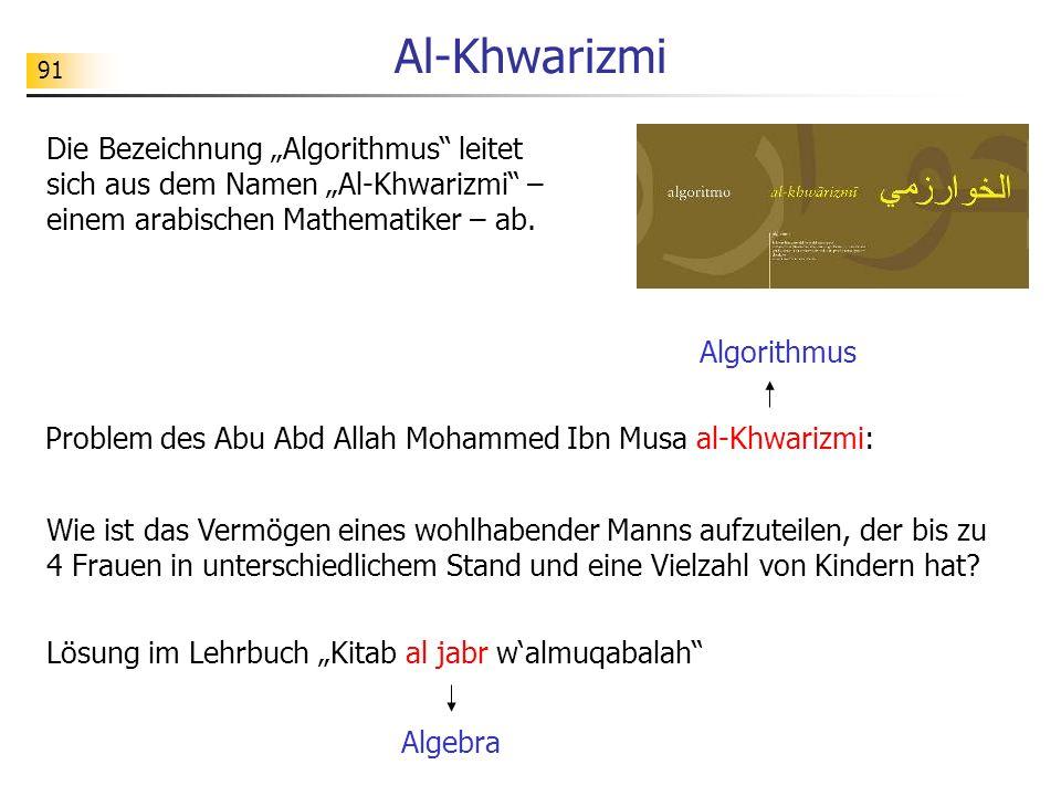 91 Al-Khwarizmi Problem des Abu Abd Allah Mohammed Ibn Musa al-Khwarizmi: Lösung im Lehrbuch Kitab al jabr walmuqabalah Algebra Algorithmus Wie ist da