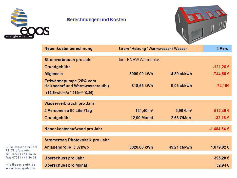 Berechnungen und Kosten Nebenkostenberechnung Strom / Heizung / Warmwasser / Wasser 4 Pers.